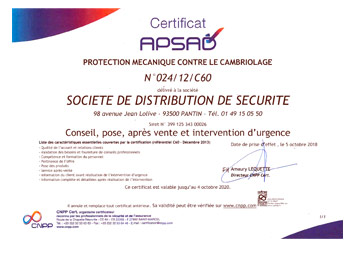 porte blindée certification apsad